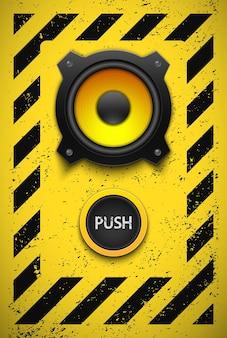 Élément de design avec haut-parleur et bouton.
