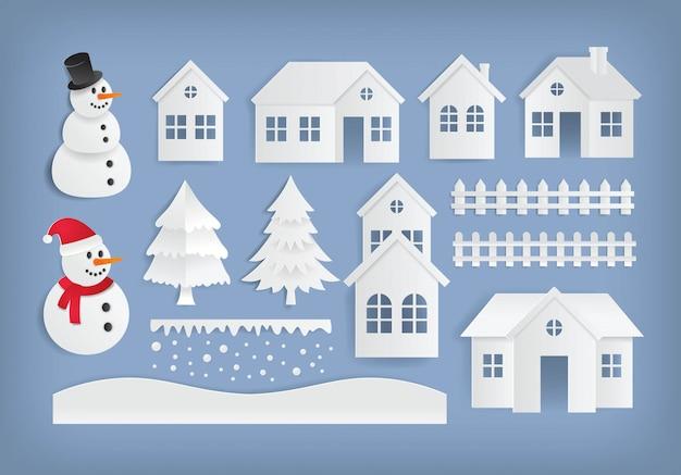 Élément de design hiver en papier coupé style illustration vectorielle
