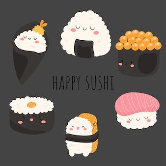 Élément de design plat sushi heureux