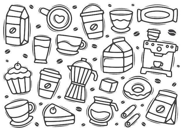 Élément de doodle de café