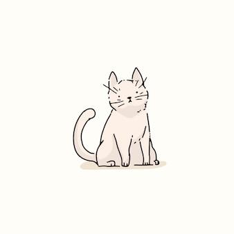 Élément de doodle chat blanc