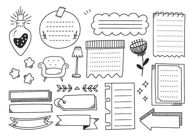 Élément de doodle journal mignon dessiné à la main