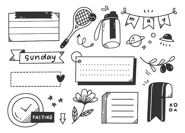 Élément de doodle journal thème sport ou exercice dessiné à la main
