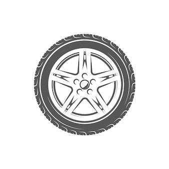 Élément du service de voiture. roue isolée sur fond blanc.