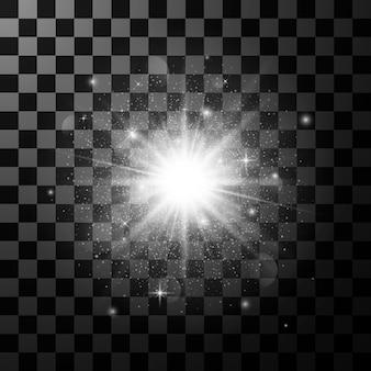 Élément d'effet de lumière lueur. star éclater avec des étincelles isolé sur fond transparent foncé