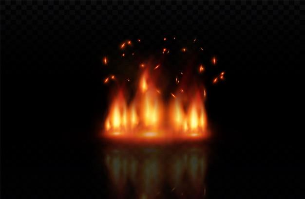 Élément d'effet spécial transparent au feu réaliste. une flamme chaude éclate. feu de camp. superposition de chaleur. feu de vecteur. flamme de vecteur. éléments de feu, effet de flamme décorative.
