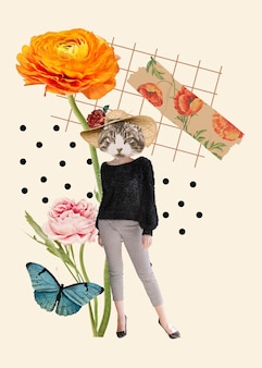 Élément esthétique féminin vintage de collage, art de médias mixtes de collage d'illustration de chat