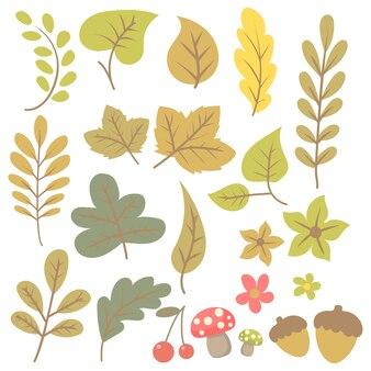 Élément de feuille automne dessiné à la main