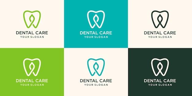 Élément de feuille combiné dentaire de conception de logo de soins dentaires