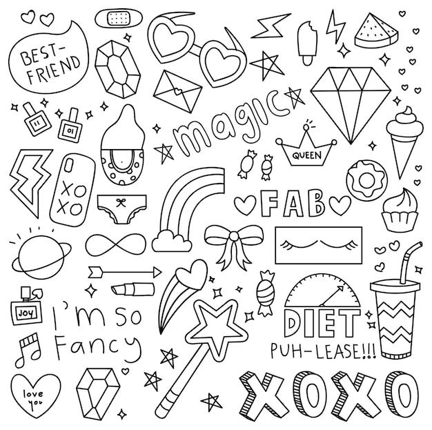 Élément de fille mignonne choses doodle