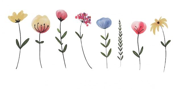 Élément de fleur aquarelle