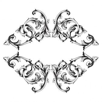 Élément floral victorien ou damassé dessinés à la main vintage. encre noire et blanche gravée.