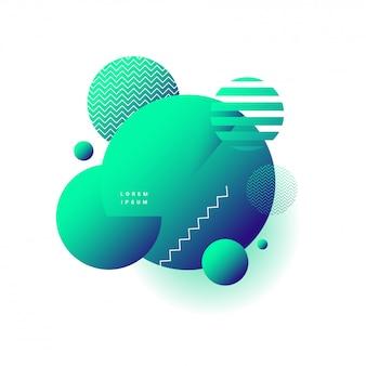 Élément de forme verte abstraite géométrique en pointillé ou cercle décoré fond blanc.
