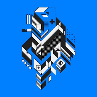 Élément géométrique abstrait sur fond bleu. style de futurisme et de constructivisme. utile comme copies ou affiches.