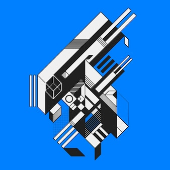Élément géométrique abstrait sur fond bleu. style de futurisme et de constructivisme.
