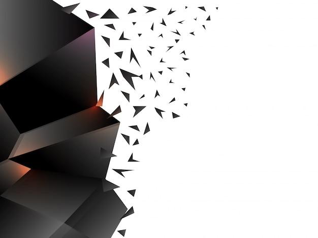 Elément géométrique abstrait noir brillant 3d avec effet éclaté.