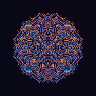 Élément géométrique circulaire dessiné à la main de vecteur de mandala coloré pour le henné, mehndi, tatouage, décoration, textile, motif, fond d'invitation