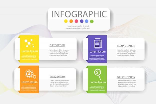 Élément de graphique infographique de modèle business design 4 étapes.