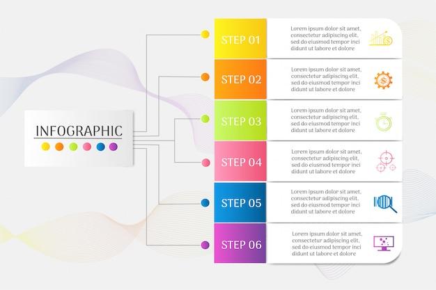 Élément de graphique infographique de modèle business design 6 étapes.