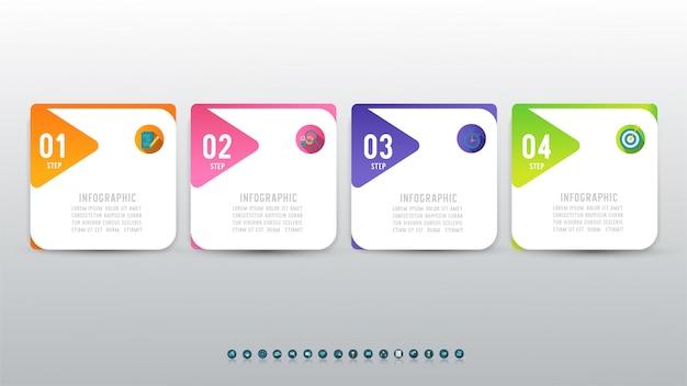 Élément de graphique infographique en quatre étapes de modèle de conception d'entreprise.