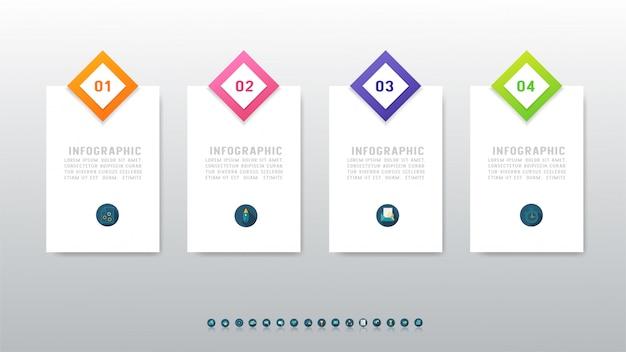 Élément de graphique infographique de quatre options de modèle de conception d'entreprise.