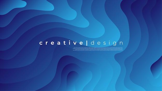 Élément graphique moderne abstrait. formes colorées dynamiques et fond de vagues