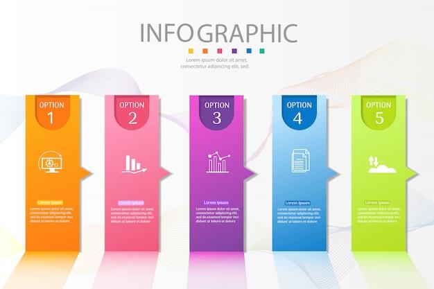Élément graphique d'options de conception business modèle 5 options.