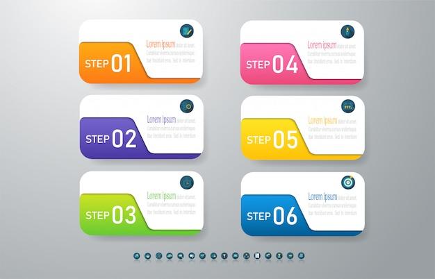 Élément graphique d'options de conception business modèle 6 options.