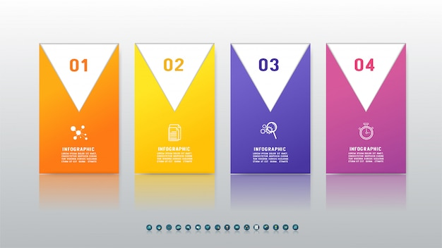 Élément graphique de quatre options de conception infographique.