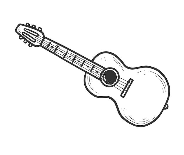 Élément de guitare acoustique dessiné à la main. style de croquis de griffonnage. icône de guitare de musique acoustique simple de ligne de dessin. illustration vectorielle isolée.