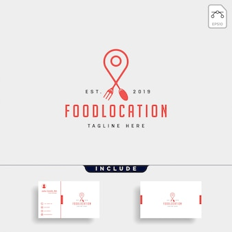 Élément d'icône logo épingle de navigation simple luxe alimentaire