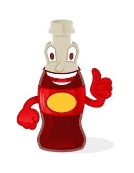 Élément icône mignon bouteille en verre heureux avec de l'eau gazeuse fraîche sans alcool boisson glacée qui montre le pouce vers le haut. personnage de dessin animé de style plat illustration design plat. mascotte