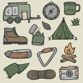 Élément d'illustration dessiné à la main de camping