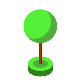 Élément d'illustration vectorielle arbre isométrique vert pour la conception de jeux.