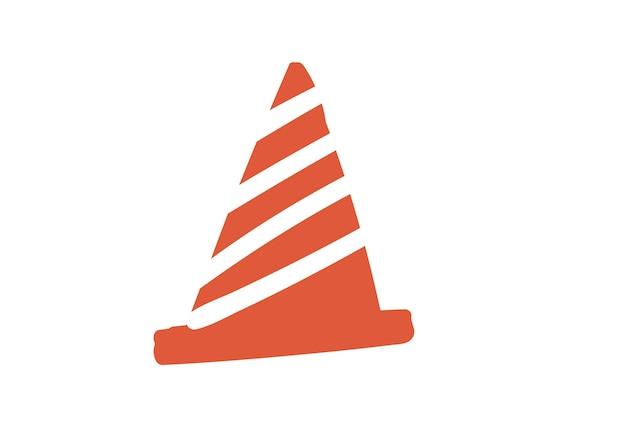 Élément d'illustration vectorielle simple dessiné à la main de cône de trafic simple et style cartoon