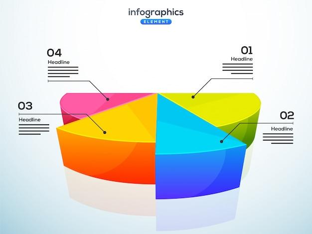 Élément d'infographie 3d, ou graphique avec quatre (4) étapes.