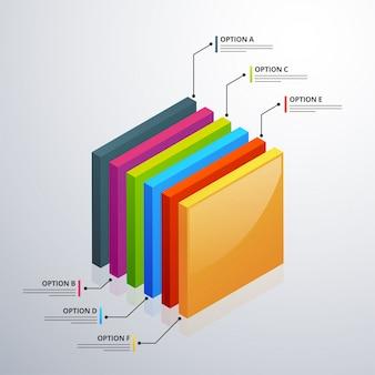 Élément d'infographie 3d, ou graphique avec six (6) étapes.