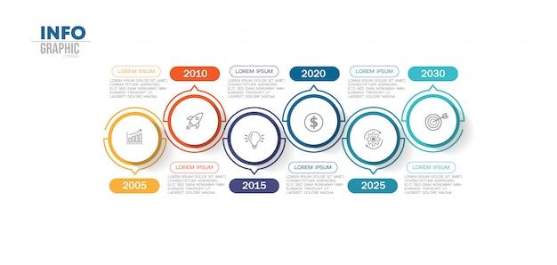 Élément d'infographie avec 6 options ou étapes. peut être utilisé pour un processus, une présentation, un diagramme, une structure de flux de travail, un graphique d'informations, une conception web.