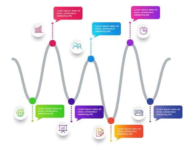 Élément d'infographie avec 7 options
