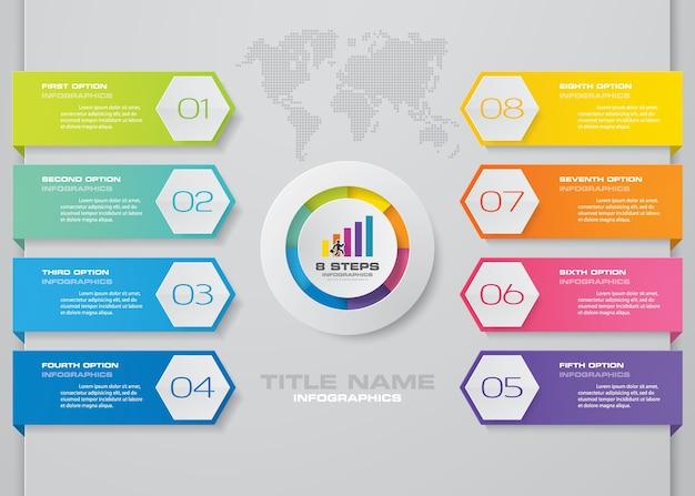 Élément d'infographie en 8 étapes.