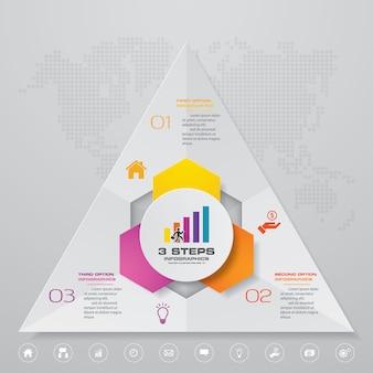 Élément d'infographie de diagramme de processus simple et modifiable en 3 étapes.