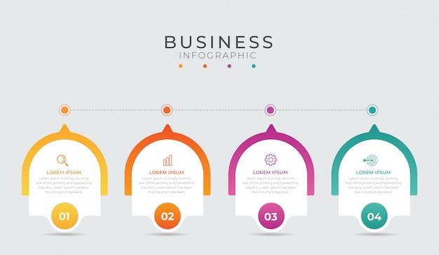 Élément d'infographie d'entreprise avec 4 options, étapes, conception de modèle de numéro