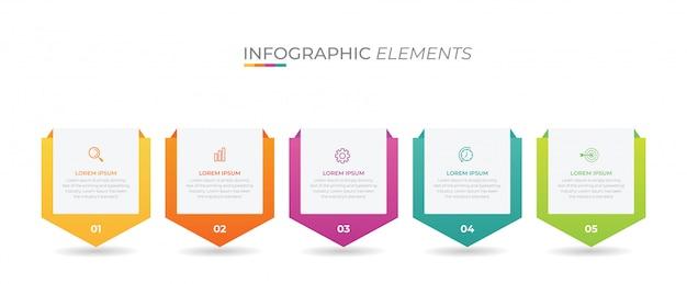 Élément d'infographie d'entreprise avec 5 options, étapes, conception de modèle de numéro