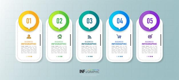 Élément d'infographie d'entreprise avec 5 options.