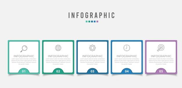 Élément d'infographie d'entreprise avec options, étapes
