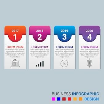 Élément d'infographie de gradient d'entreprise avec 4 options ou étapes