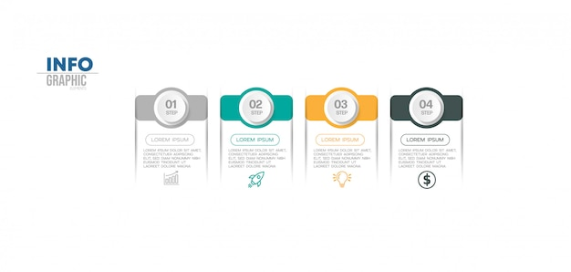 Élément d'infographie avec icônes et 4 options ou étapes. peut être utilisé pour le processus, la présentation, le diagramme, la disposition du flux de travail, le graphique d'informations, la conception web.