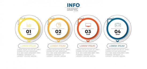 Élément d'infographie avec des icônes et 4 options ou étapes. peut être utilisé pour un processus, une présentation, un diagramme, une structure de flux de travail, un graphique d'informations