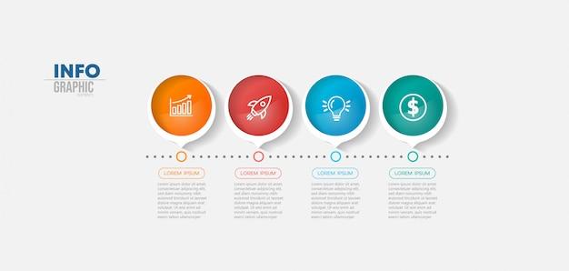 Élément d'infographie avec icônes et 4 options ou étapes.