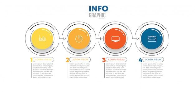 Élément d'infographie avec des icônes et 4 options ou étapes.